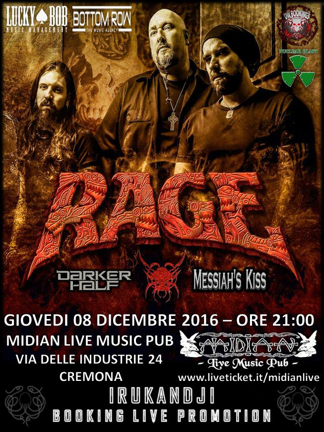 Rage - Darker Half - Messiah's Kiss (The Devil Tours Again 2016) @ Midian LIVE | Cremona | Lombardia | Italia