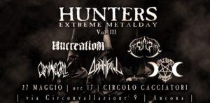 Hunters Extreme Metal Day Vol.3: appuntamento il 27 maggio @ Circolo Operaio Cacciatori Ancona
