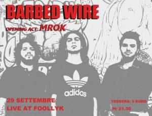 Barbed Wire: il 29 settembre live al Foollyk di Roma @ Foollyk  | Roma | Lazio | Italia